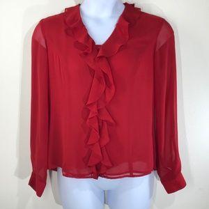 Jones Wear Women's Red Button Front Blouse Sz 10
